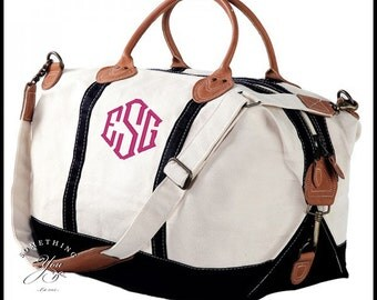 Monogrammed Leather and Black/Natural Canvas Weekender Bag - Personalized Travel Luggage, Personalized Canvas Bags, Monogrammed Duffel Bags
