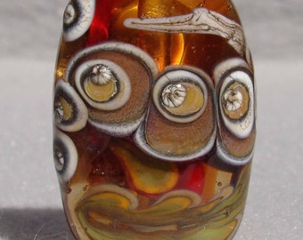 AUTUMNAL Handmade Lampwork Art Glass Focal Bead - Flaming Fools Lampwork Art Glass  sra