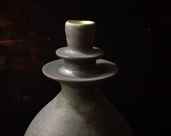 MADE TO ORDER- 1 large ceramic stoneware flanged vase by sara paloma, glazed in slate matte.  Modern paloma's decor handmade pottery vases