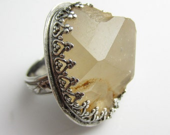 Organic Quartz Ring  in Sterling Silver - Adjustable Band