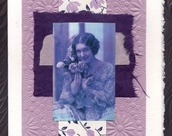 Collage Greeting Card Friendship Thinking of You Woman Roses