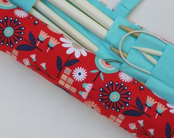 knitting needle case - mod flowers in red, peach, white and blues - 36 pockets