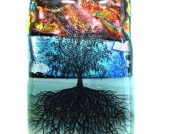 Tree Pendant - Dichroic Glass Pendant - Sunset Tree - Fused Glass Pendant - Tree of Life Pendant