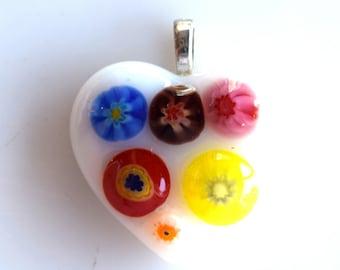 Glass Heart Pendant - Miilefiore Glass Pendant - Fused Glass Heart Pendant - Mesh Necklace - Melted Glass Heart Necklace