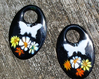 Enameled Copper Earring pair by Catalinaglass SRA Butterflies in the Garden