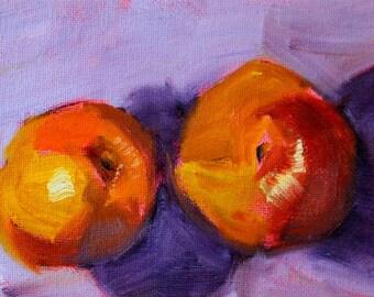 Peach Still Life Oil Painting, Original Kitchen Wall Decor, Small 4x6 Canvas, Lavender Orange Red, Fruit, Tiny Little Miniature