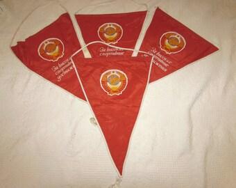 Vintage Soviet Union Russian Orangish Red Lenin Banner Flag, 80s,  propaganda, communist, collectible, political, USSR, hammer sickle
