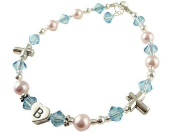 Initial, aqua crystal Cross Baptism Bracelet, Christening Bracelet, all sizes and colors