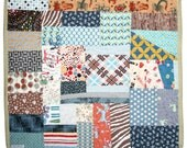 Rustic Baby Quilt, Modern Baby Boy Crib Bedding, Western Tattoo Mushroom Plaid Stripe Geometric, Gray Blue Brown, Vintage Style, Crazy Quilt