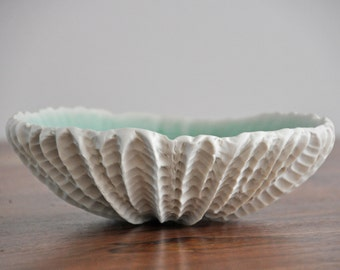 DISCOUNTED - Large Scallop Ceramic  Bowl - Blue Handmade White Ceramic Bowl Wedding Gift Engagement Gift