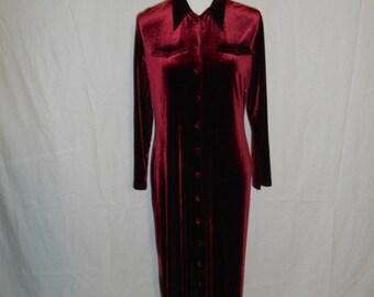 SALE 90's velvet dress, button up cover up dress, long sleeve dress