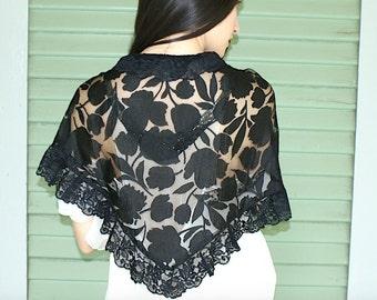 Fabulous 30's Black Lace Vintage Antique Shrug