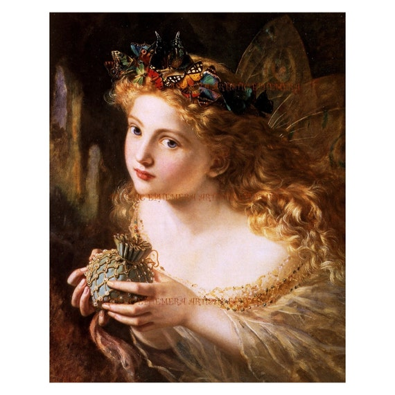 PR-253 Ephemera Art Print - Sophie Anderson - Art Nouveau Fairy 'The Fair Face of Women' - Also Available as Small Prints and Postcards