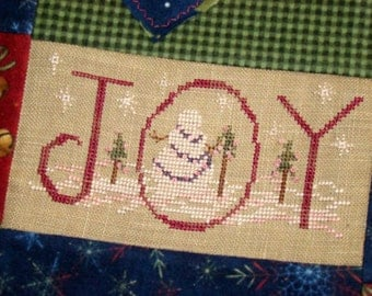 Christmas Snowman Joy Cross Stitch Holiday PDF Pattern