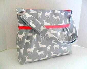 Diaper Bag - Gray Deer - Coral - Adjustable Strap - Deer Diaper Bag - Messenger Bag - Bags and Purses -  Stroller Straps - Monogramming