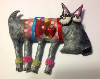 Soft Sculpture Shnauzer dog