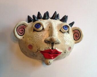 Ceramic Head with Spiky Hair