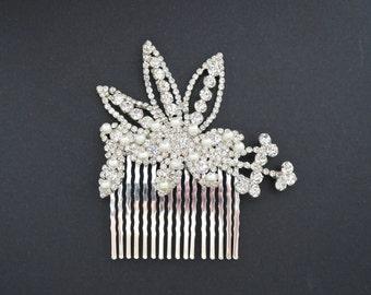 Art Deco Hair Comb, Vintage Bridal Hair Comb, Crystal Wedding Comb Pearl Rhinestone Floral Bridal Hair Piece, Gatsby Bridal Hair Accessory