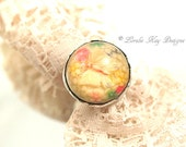 Butterfly Garden Ring Soldered Resin Dome Sweet Ring Lorelie Kay Original