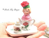 World's Smallest Teapot Art Doll  Mixed Media Assemblage Tea Party Theme Miniature Teapot Art Doll