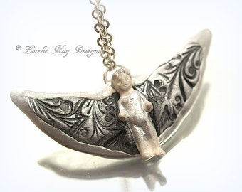 Frozen Charlotte Doll Angel Necklace One-of-a-Kind Tiny Frozen Charlotte Black Wing Angel Pendant