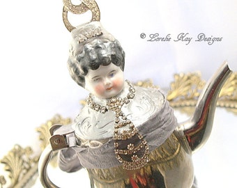 Queen Imogen Art Doll Functional Teapot  Silver Shabby  Assemblage Art Doll  One-of-a-kind Mixed Media Sculpture