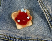Peanut Butter and Jelly Sandwich Pin, PBJ Brooch or Badge, Felt Food