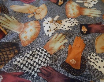 Blouse Weight Fabric, Glove Theme Fabric, Brown Polyester Fabric, 2 and Half Yards Continuos