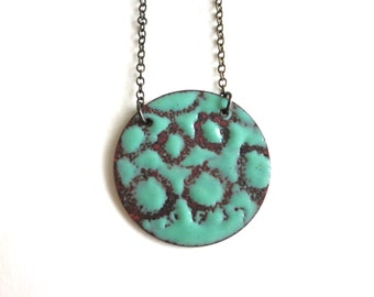 Enamel Reversible Circle Necklace