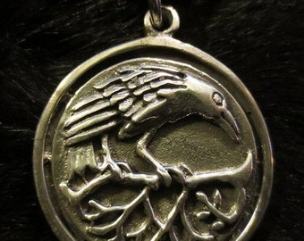 SALE Wiccan Pagan Celtic Raven Pendant Lead Free Pewter