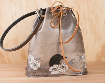 Bucket Bag - Leather Bucket Bag - Leather Handbag - Leather Purse - Leather Tote - Heather pattern with Raven and cherry blossoms - black