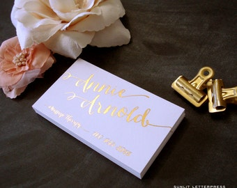Gold Foil Business Cards - Custom Calligraphy Letterpress Cards - Custom Business Cards - Set of 100 Business Cards