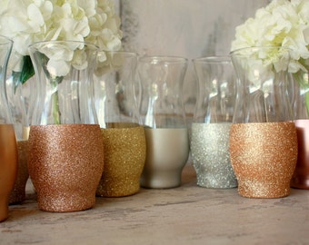 Gold wedding decor,  Mixed metal finish dipped cylinder vases, table decorations, wedding table centerpieces, silver, champagne, rose gold