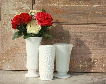 Vintage Milk glass planters,  set of 3 milk glass vase collection, white wedding decor, table centerpiece, hobnail vase, scalloped edge