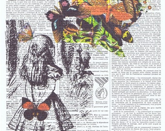 Pretty picuture.Alice in Wonderland,Butterflies.Antique French Book Page.art,buy 3 get 1 FREE,deco.fantasy.whimsy.birthday.child.mom.nursery