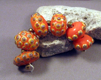 Handmade Lampwork Beads by Monaslampwork - Coral Beauties - Lampwork Glass Beads by Mona Sullivan Artisan Beads Boho Gypsy Tribal Organic