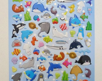 Cute Puffy Japanese Glossy Stickers  - Animal Fun - Friends of the Ocean (1331L)