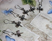 Convertible Crochet Knitting Locking Stitch Markers Set in Pewter Dragonflies