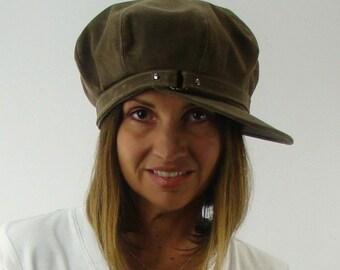 OVERSIZED NEWSBOY 8-Panel Handmade Cap Driving Cap for Men or Women in Stone Waxed Canvas - Custom Hat