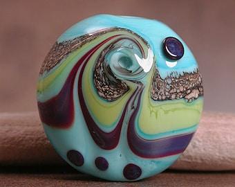 Lampwork Glass Focal Bead Turquoise Lime Purple Divine Spark Designs SRA