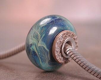 Lampwork European Charm Bead in Blues Silver Cored Divine Spark Designs SRA