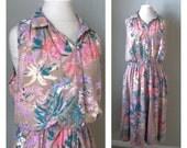 On Hold For Cat ~~~~~~Vintage 90s pastel tropical floral print boho dress / festival / spring summer dress / sleeveless dress / shirt dre