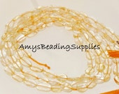 CITRINE 8x6mm Flat Oval Beads, 14-Inch Strand,  Approx 40 beads