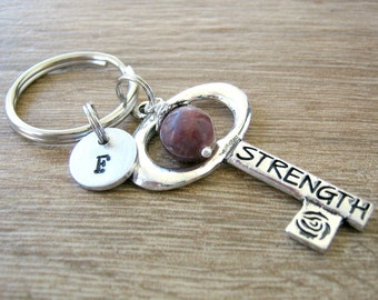 Personalized Strength Keychain, optional initial disc, giant key charm, Fearless on back, Stay Strong, Motivational gift, choose bead, RTS