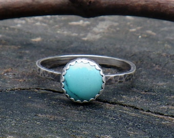 Blue Turquoise Sterling Silver Ring ... Petite 8mm blue turquoise ring dainty ring turquoise stacking ring