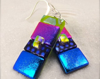 Fused glass earrings, dichroic glass earrings,dichroic glass jewelry,dichroic glass statement earrings, Hana Sakura Designs,rainbow jewelry