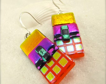 Modern Rainbow earrings, Hana Sakura, Dichroic jewelry, Fused glass, Artistic jewelry, dichroic earrings, statement earrings, Glass fusion