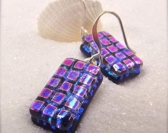 Dichroic fused glass earrings, Hana Sakura, Dichroic, glass fusion gifts, trending now, unusual earrings, artisan jewelry, blue earrings
