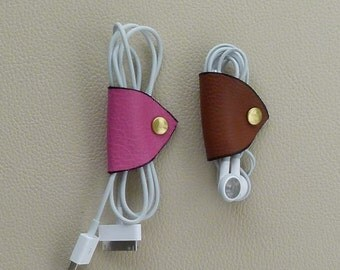 Three Leather Cord Wraps, Cord Tacos, Cable Wraps, Earbud Wraps, Leather  Cable