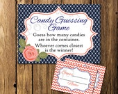 Printable Navy and Coral Bridal Shower Candy Guessing Game - Instant Download